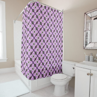 Mauve Flower Diagonal Fractal Shower Curtain