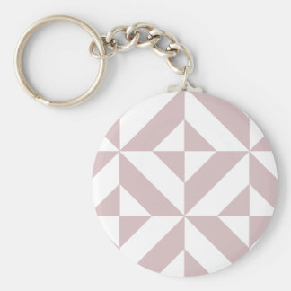 Mauve Geometric Deco Cube Pattern Basic Round Button Key Ring