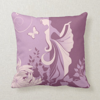 Mauve Girl and her Butterfly American MoJo Pillow Throw Cushions