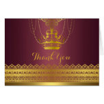 Mauve & Gold Crown Thank You Card