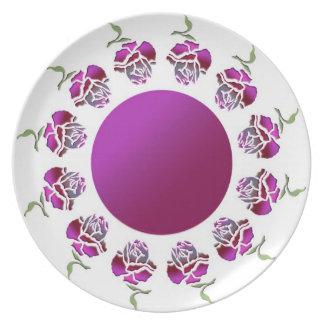 Mauve Graphic Rose Plate