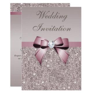 Mauve Gray Sequins Diamonds Bow Wedding Card