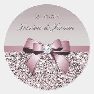 Mauve Gray Sequins Diamonds Bow Wedding Round Sticker