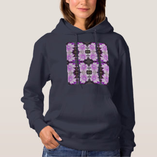 Mauve Ground Flower 706A Fractal Hoodie (Navy)