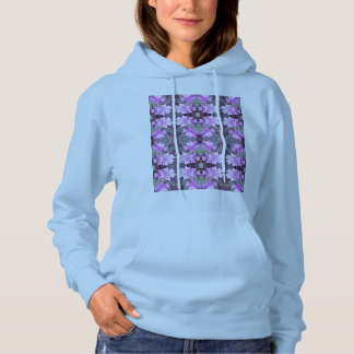 Mauve Ground Flower 706C Fractal Hoodie (PaleBlue)