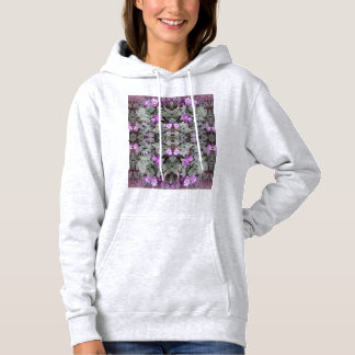 Mauve Ground Flower Fractal 2 Hoodie (Ash)