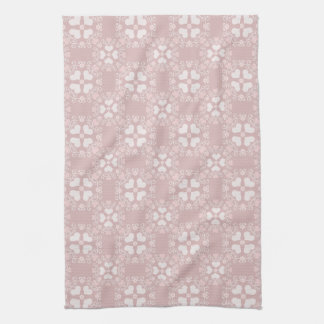 Mauve Heart Damask Tea Towel