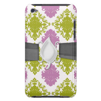 mauve lavender lime green white diamond damask iPod touch cases