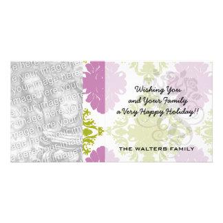 mauve lavender lime green white diamond damask picture card