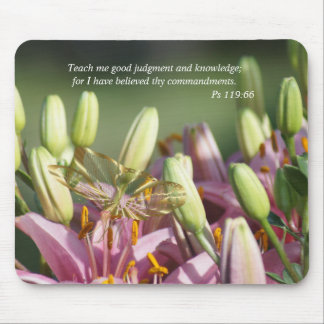Mauve Lily & Butterfly Mousepad- customize Mouse Pad
