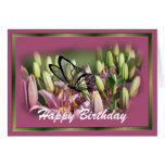 Mauve Lily with black lace butterrfly- customise Greeting Card