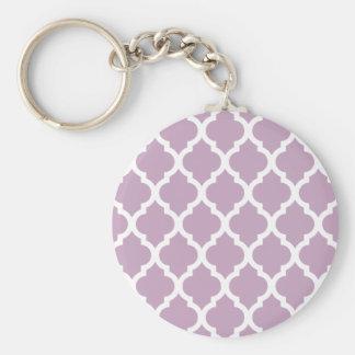 Mauve Mist Moroccan Tile Trellis Keychain