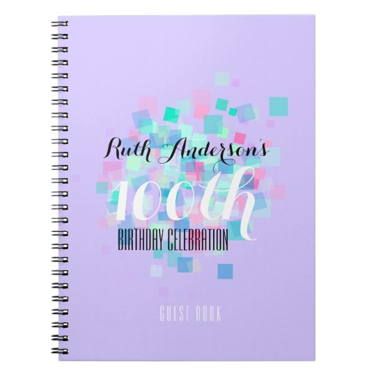 Mauve Pastel Colours 100th Birthday Party Notebooks
