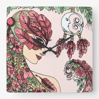 Mauve Pink Feather Mask woman face yellow green Square Wall Clock