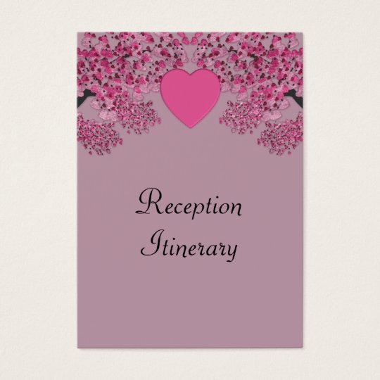Mauve Pink Velvet Embossed Heart Trees Wedding Business Card