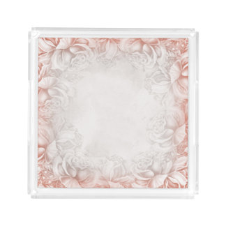 Mauve Pink White Victorian Roses tray