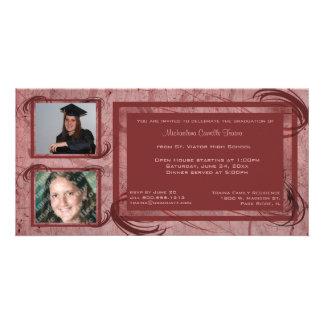 Mauve Scrolls Graduation Photo Invitation Photo Cards