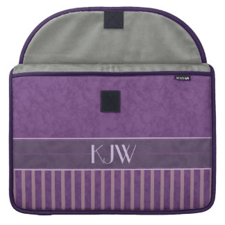 Mauve Stripes with Lavender and Plum Monogram Sleeve For MacBooks
