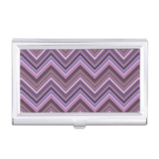 Mauve zigzag stripes business card holder