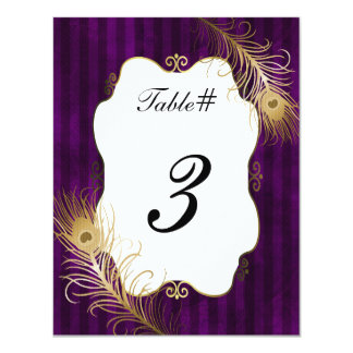 Mave & Golden Peacock Feather Wedding Table Number 11 Cm X 14 Cm Invitation Card