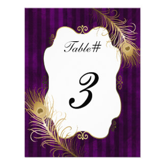 Mave Golden Peacock Feather Wedding Table Number Invites