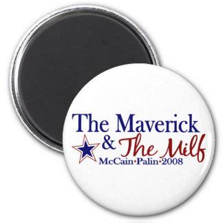 Maverick and Milf (McCain Palin 2008) 6 Cm Round Magnet