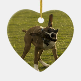 Maverick the Boxer Christmas Ornament