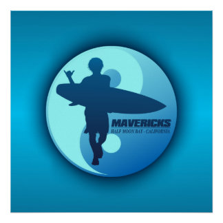 Mavericks -Half Moon Bay (Blue) Poster