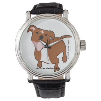 Max | Floppy Ears Black Vintage Leather Watches
