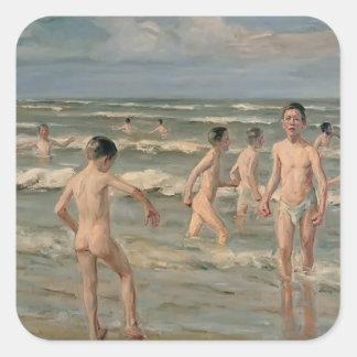 Max Liebermann- Bathing boys Square Stickers
