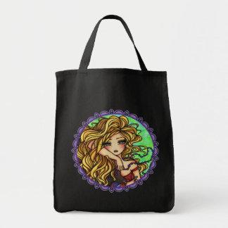 """""""Maxine"""" Mermaid Beta Fish Fantasy Fairy Art Grocery Tote Bag"""