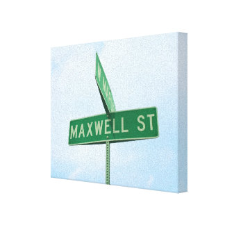 Maxwell Street Sign | Wrapped Canvas Wall Art Canvas Print