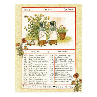 May 1884 Almanac.  Gemini, The Twins Postcard