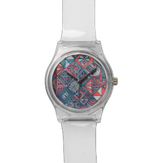 May 28th white watch with teal geometric face