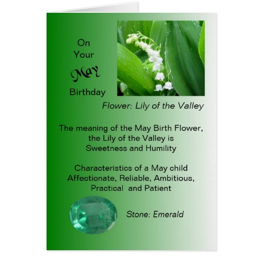 May Birthday Card - Lily Of The Valley and Emerald