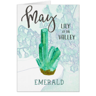 May Birthday Emerald and Lily of the Valley Card