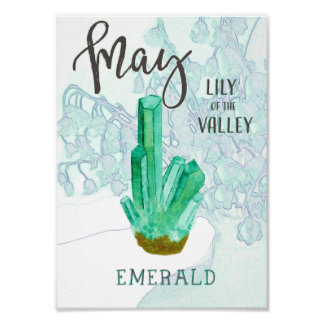 May Birthday Emerald and Lily of the Valley Poster