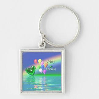 May Birthday Emerald Heart Key Ring