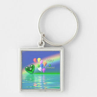May Birthday Emerald Heart Silver-Colored Square Key Ring