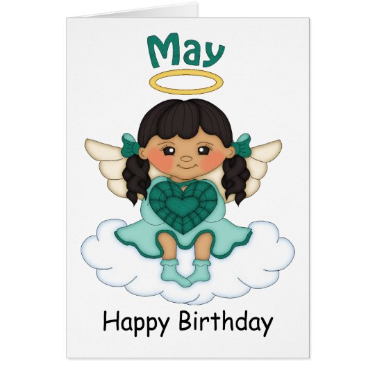 May Birthstone Angel Black Birthday Card