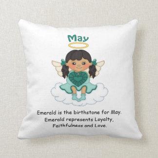 May Birthstone Angel Black Throw Cushion