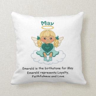 May Birthstone Angel Blonde Throw Cushions