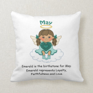 May Birthstone Angel Brunette Pillow