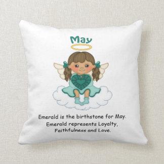 May Birthstone Angel Brunette Cushions