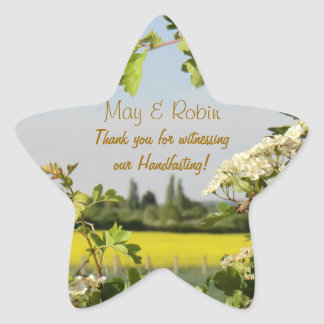 May Blossom Handfasting Pentagram Thanks Sticker