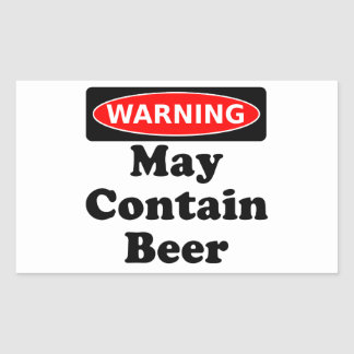 May Contain Beer Rectangular Sticker