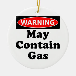May Contain Gas Round Ceramic Decoration