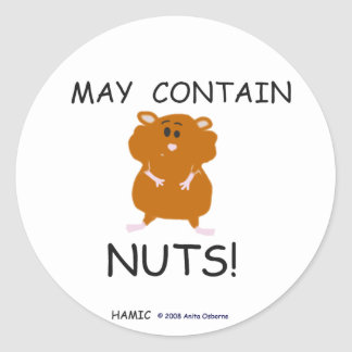May Contain Nuts Syrian Hamster Round Sticker