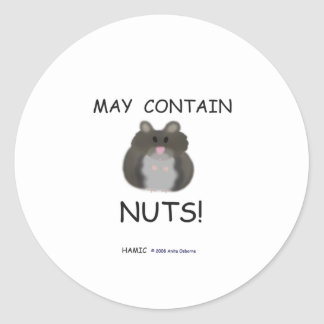May Contain Nuts Winter White Hamster Round Sticker