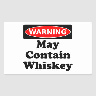 May Contain Whiskey Rectangular Sticker